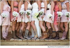 Cowboy boots.  LOVE the bridesmaids' dresses.