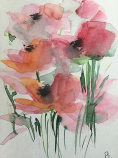 Original Aquarell Aquarellpostkarte Blumen Watercolor Flowers postcard greeting card