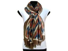 LARGE TAUPE BROWN CONTEMPORARY ZIG ZAG PASHMINA SHAWL SCARF, £7.99 - A-SHU.CO.UK