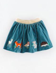 Mini Boden Velvet Appliquee Skirt.