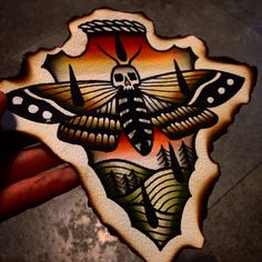 Moth color tattoo flash  Traditional tattoo