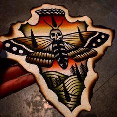 Moth color tattoo flash  Traditional tattoo
