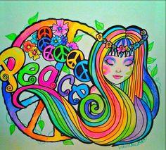 Peace Girl With A Sixties Groove Rainbow Hippie Art Print