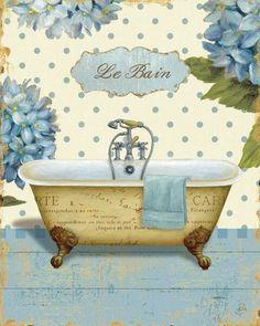 Great Big Canvas 'Thinking of You Bath II' Daphne Brissonnet Graphic Art Print Size: H x W x D, Format: White Framed Bathroom Prints, Bathroom Art, Seashell Bathroom, Bathrooms, Small Bathroom, Decoupage Vintage, Decoupage Paper, Images Vintage, Vintage Pictures