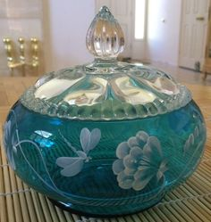 *FENTON ART GLASS ~ Turquoise Covered Candy Dish