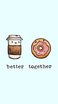 Better together By Sara Mouta Iphone Wallpaper Food, Cute Food Wallpaper, Kawaii Wallpaper, Cartoon Wallpaper, Cute Food Drawings, Kawaii Drawings, Easy Drawings, Tumblr Backgrounds, Cute Wallpaper Backgrounds