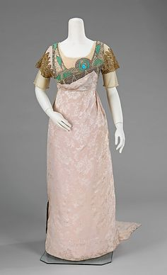 Dress, Evening. Simcox. Date: 1912. Culture: American. Medium: silk, metal, rhinestones. Dimensions: Length at CB: 65 in. (165.1 cm).