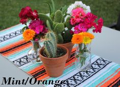Mint/Orange Mexican Blanket Table Runner for Fiesta, Weddings, Showers, Cinco de Mayo – Food: Veggie tables Mexican Centerpiece, Cactus Centerpiece, Fiesta Party Centerpieces, Mexican Themed Weddings, Mexican Babies, Fiesta Theme Party, Mexican Party, Mexican Birthday, Table Runners