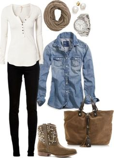 #fall #outfits / Denim Shirt + Knit Scarf                                                                                                                                                                                 More