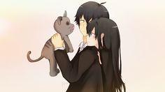 """""""Yukino Yukinoshita really likes cats.""""  A Yukino x Hachiman Fanart from Yahari Ore no Seishun Love Come wa Machigatteiru! A.K.A OreGairu!"""