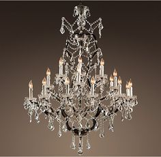 """19th C. Rococo Iron & Clear Crystal Round Chandelier 41"""""""