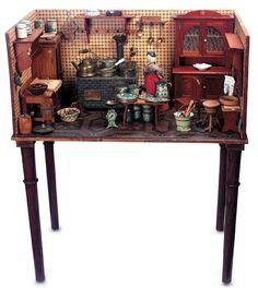 Large German Lavishly-Furnished Wooden Kitchen with Wonderful Tinplate Stove c1880