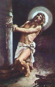"""2nd Sorrowful Mystery:The Scourging at the Pillar: """"Then he released to them Barabbas, and having scourged Jesus, delivered him unto them to be crucified."""" -Matthew 27:26  Jesus was stripped of His clothes and tied to a stone pillar. He was surrounded by a blood thirsty mob who were shouting and encouraging the cruel Roman soldiers as they lashed His divine flesh with leather whips tipped with sharp stones. Blood flowed forth as His flesh was torn from His sacred body."""