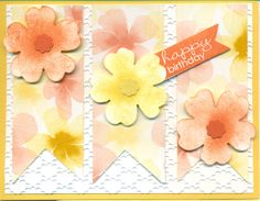 Fancy Fan EF, Pansy Punch, Watercolor Wonder DSP.  Banner Greetings stamp, Banner Framelits, Tangerine Tango, Daffodil Delight.  Cut and sponged flowers, used Itty Bitty shapes for center punch.  Used a square punch to make banner points since I wanted to use this particular size banner. You can use a square punch to make banners if you don't have the handy banner framelits.