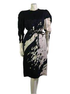 1980s Japanese Hanae Mori Silk Dress