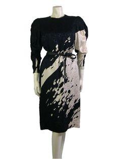1980s Japanese Hanae Mori Silk Dress