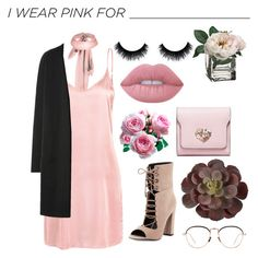 """// I wear pink for (...) //"" by liamschoco on Polyvore featuring moda, WithChic, Kendall + Kylie, Lime Crime, Linda Farrow e IWearPinkFor"
