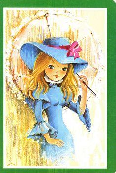 Vintage Postcard Parasol Girl Illustration