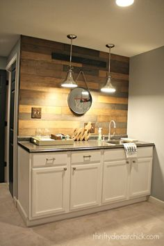 basement redo wood planked wall different stains