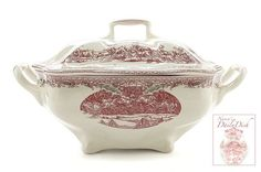 Johnson Brothers Pink Red Transferware Christmas Soup Tureen Santa's Sleigh and his Reindeer