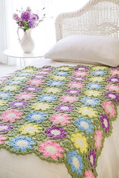 Ravelry: Flowers of Summer Throw pattern by Katherine Eng