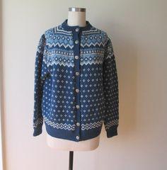 Vtg EARLY Husfliden Norwegian Sweater Blue