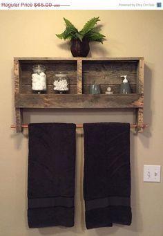 15% Off Bathroom Decor Rustic Wood Pallet Furniture Outdoor Furniture Double Towel Rack Bathroom Shelf Rustic Home Decor Wall Shelf by BandV...