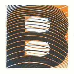 A two colour linocut decorative letter B. by JamesBrownPrints, £55.00