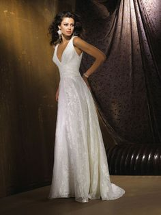 Gorgeous Lustrous Tulle Printed Wedding Dress in Empire Silhouette