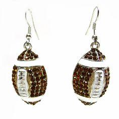 Bling Dangle Football Earrings by kshurling on Etsy, $15.00