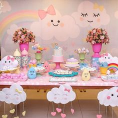 first birthday party ideas boys Rainbow Birthday, Unicorn Birthday Parties, Unicorn Party, Baby Birthday, Idee Baby Shower, Baby Shower Themes, Cloud Party, Birthday Decorations, First Birthdays