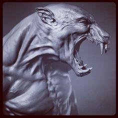 Monster 1 head by meandmygun on DeviantArt Alien Concept Art, Creature Concept Art, Creature Design, Myths & Monsters, Werewolf Art, Dark Art Drawings, Animal Bones, My Demons, Vampire