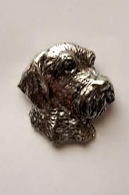 Head of Wire Haired Dachshund brooch pin made from finest pewter, gift boxed, available in the UK.