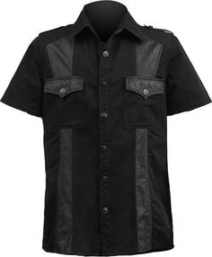 A black cotton button-down shirt with faux-leather accents, from the men's gothic clothing collection by Punk Rave.