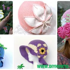 Crochet Girls Sun Hat Free Patterns Instructions - Flower Hat Video