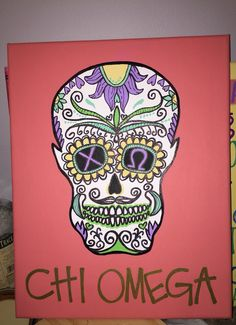 Chi Omega Sugar Skull Canvas by CraftyinKY on Etsy #chiomega