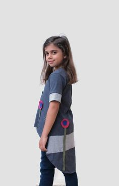 Gray organic cotton top with flowers applique / asymmetrical top for girls/ gray handmade tunic for girls/ summer top / short sleeves top by PepperFashion on Etsy