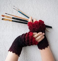 Crocheted crocodile stitch mittens fingerless gloves - black and red Transitional. Accessories.. $32.00, via Etsy.