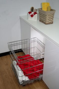 TANSEL LAUNDRY STORAGE: Individual Pull Out Wire Baskets (Wheels/Castors)