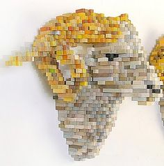 Pixelated wood block sculptures combine the digital and real world. #art #sculpture