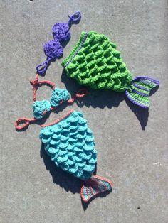 Newborn Crochet Mermaid Tail  Bright Green by AlishaMayCreations, $48.00