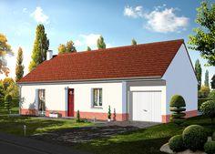Modèle GREGALE   Pavillon plain-pied avec garage comprenant cuisine ouverte sur le séjour, salle de bains, WC, 2 chambres.   Surface habitable : 67,23m².