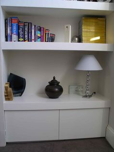 Alcove Shelves Floating Chubby Floating Shelf Alcove Cupboard By on Excellent White Floating Alcove Shelves Whi Alcove Storage, Alcove Shelving, Recessed Shelves, Floating Shelves Bedroom, Floating Corner Shelves, Bookcase Shelves, Room Shelves, Shelf, Alcove Cupboards