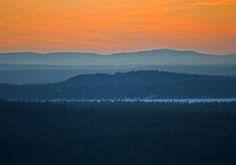 Spring morning, the clock was fife: The mornings sun paints the horizon, April 2009, Ruka Kuusamo Finland by Aili Alaiso