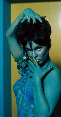 "Yvonne Craig as a the green-skinned Orion slave girl Marta in the 1968 Star Trek episode ""Whom Gods Destroy."""