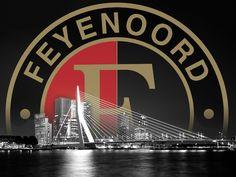 Feyenoord logo en de Erasmusbrug van Feyenoord Landskampioen