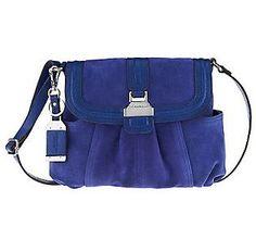 Tignanello Suede Crossbody Bag with Flap Closure