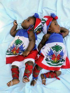 My twins rocking their Haitian flag outfit made by e Black Baby Girls, Twin Girls, Haitian Wedding, Haitian Men, Haiti Flag, Bless The Child, Caribbean Culture, African Diaspora, Little Girl Dresses