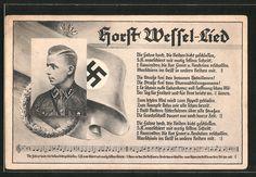 old postcard: AK Porträt SA-Sturmführer Horst Wessel in Uniform, Horst Wessel-Lied, Hakenkreuzfahne
