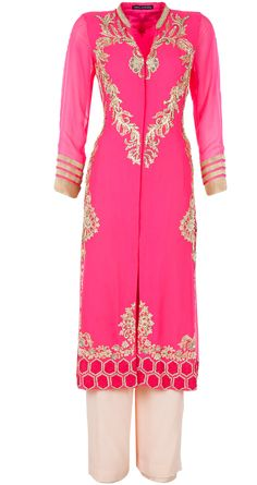 Neon pink embroidered straight kurta by ANEESH AGARWAAL. http://www.perniaspopupshop.com/whats-new/aneesh-agarwaal-neon-pink-embroidered-straight-kurta-anac1013stkr.html